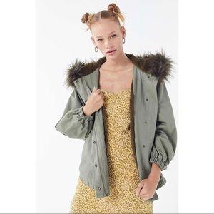 Olive Green Parka Jacket Coat Faux Fur Lining Hood